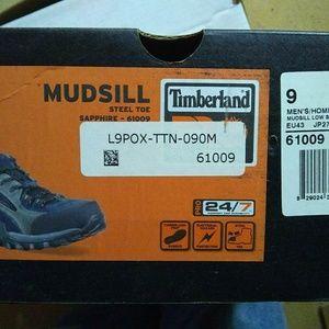 Timberland Mudsill Sapphire Steel Toe Boots Size 9
